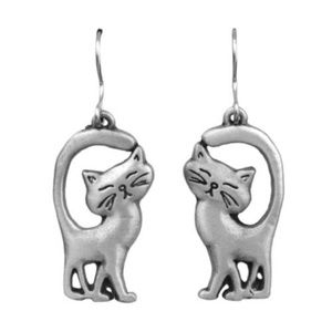 Chelsea Detailed Cat Kitty Tail Up Pewter Dangle